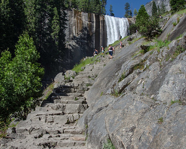 Some of the granite stairs of the Mist Trail leading to Vernal Fall. If you look closely at the hikers just off to the left, above, that is where the next photo was taken from.