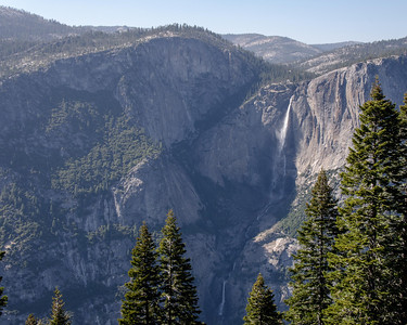 Going down the 4 Mile Trail from Glacier Point you are treated to views of Yosemite Falls with all three falls visible.