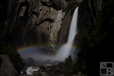"The elusive ""Moonbow"" seen with Lower Yosemite Falls on the night of May 4th, 2012"