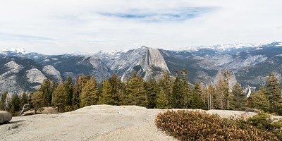 Looking due east provides this view of Half Dome, and Nevada Fall.