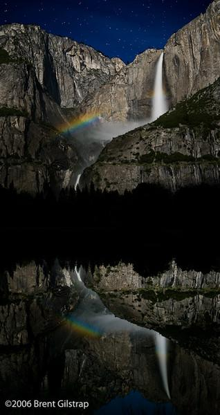 """Moonbow and Reflection at Yosemite Falls""<br /> <br /> 15 May 2006<br /> <br /> Reworked postprocessing January 2008"