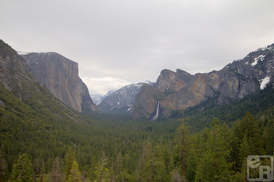 El Capitan, Half Dome partially obscured by clouds, Cathedral Peaks and Bridal Veil Falls