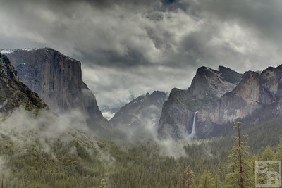 El Capitan, a small portion of Half Dome, The Cathedral Peaks, and Bridal Veil Falls can be seen