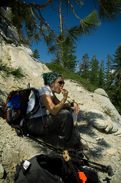 Stopping for a snack at the base of Half Dome.