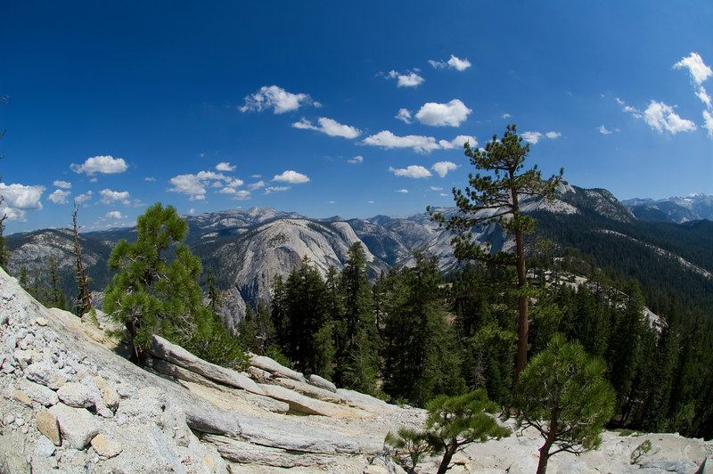 Partway up the switchbacks and steps of Half Dome, before the cables. (Looking south)