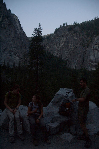Pre-dawn on the Half Dome Trail. Sondra and Corey discuss the adventure ahead as Paul reminds everyone of the time.