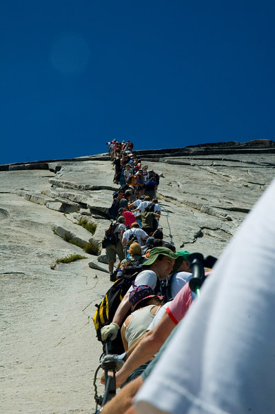 Traffic jam on the cables for Half Dome. We got 30 feet up, sat there for 10 minutes or so, and decided it wasn't worth the 2+ hour wait time and having to walk the extra mile or two back to camp without the group. So no, we did not summit Half Dome that day. Next time!