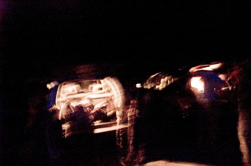 Unpacking the cars at the trailhead. 5:20am.