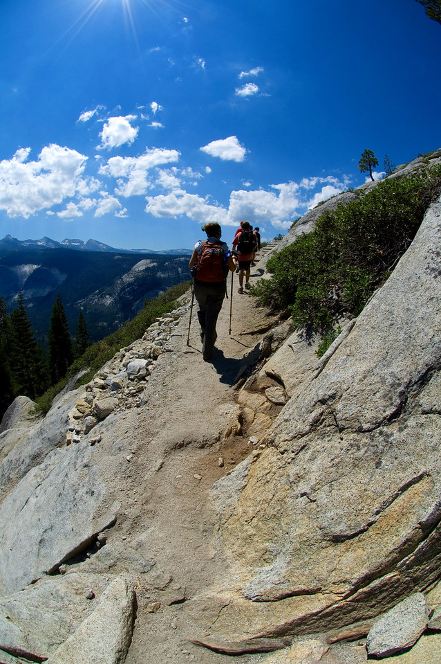 Heading up the switchbacks of Half Dome.