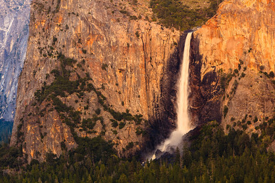 Bridalveil Fall at Dusk View from Tunnel View on Hwy 41.