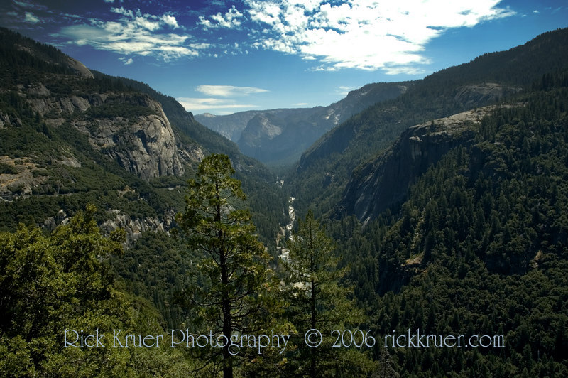 A scenic view of the Merced River from a higher elevation as we climb up on Tioga Pass road as we make our way through Yosemite, the scenic way.<br /> <br /> ND70_2006-07-29DSC_6278-MercedRiverViewFromAbove-2-temp copy.jpg