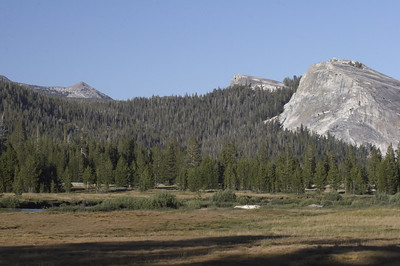 If you look closely, you'll see the river about 2/3s of the way down in this photo.  The Tuolumne Meadow was mostly dry at this time of year except for this one river that ran gently through it.