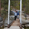 Timber and me on the swinging bridge.