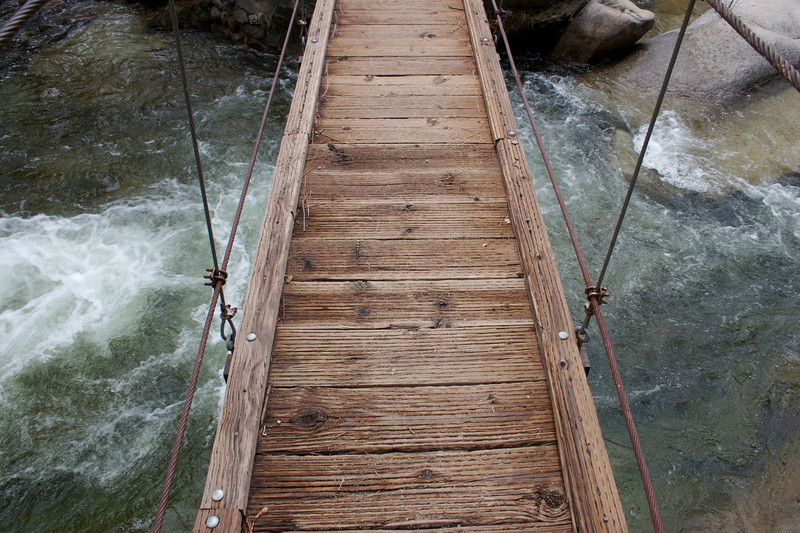 A look down while standing on the swinging bridge near the Wawona hotel.