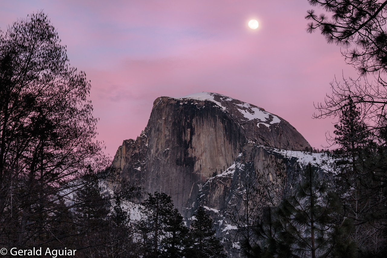 Sunset with Full Moon Rising over Half Dome