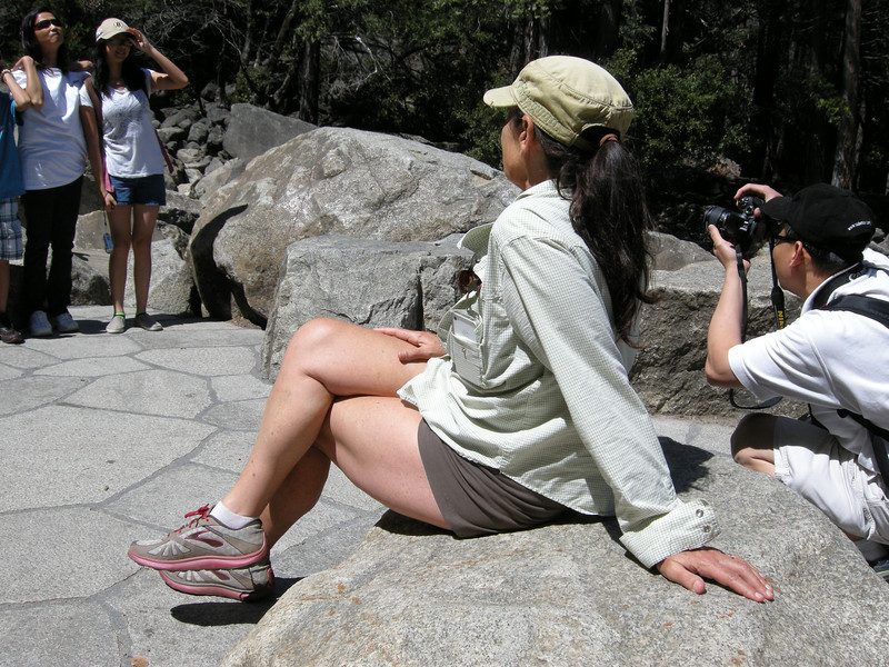 Michèle sunning herself near the base of Lower Yosemite Fall.