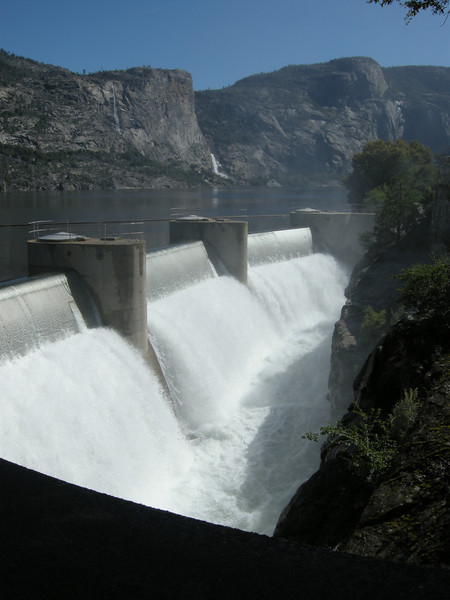 The dam's spillway was in use; the lake was completely full!