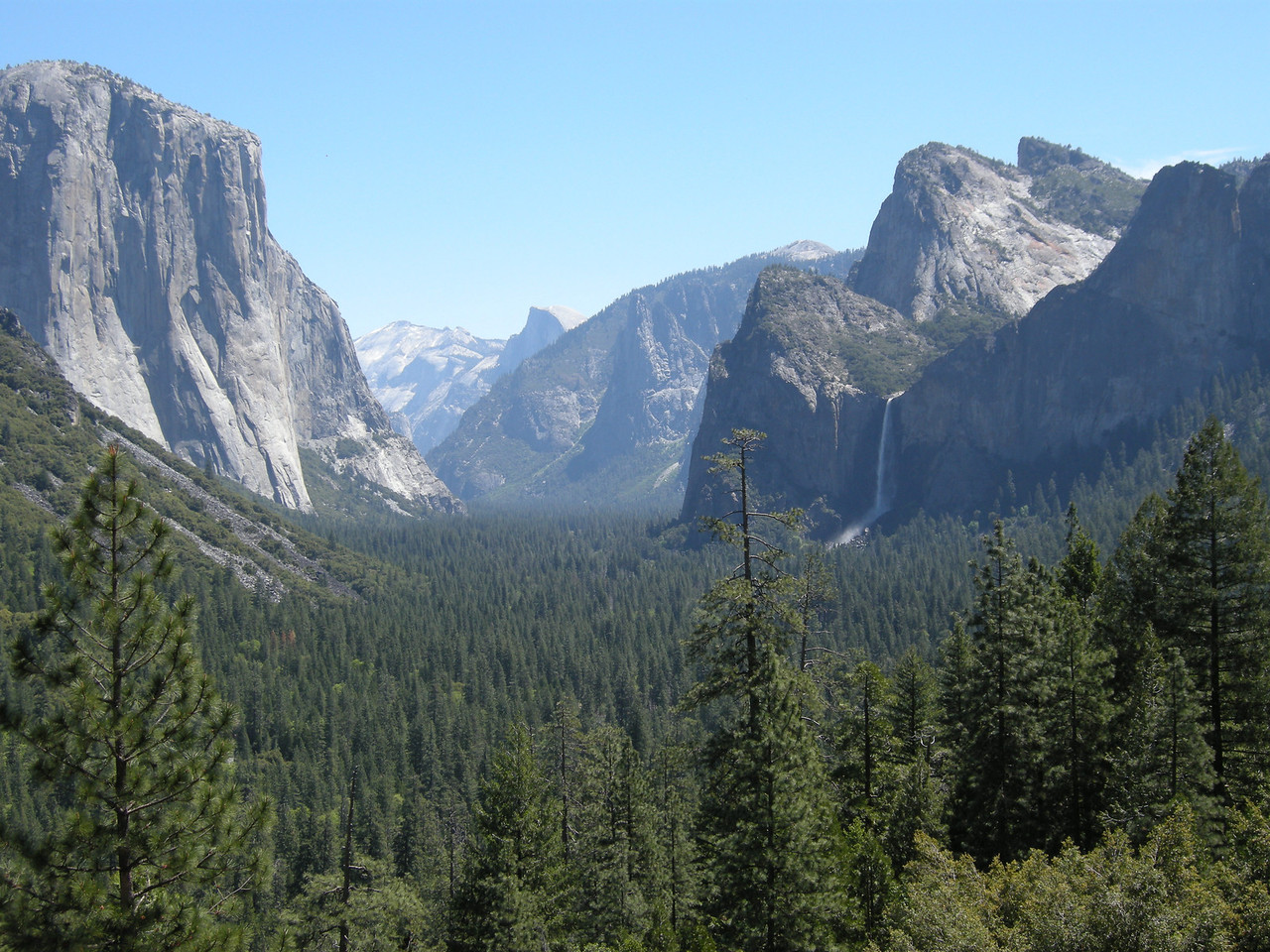 Yosemite Valley, looking east from Tunnel viewpoint.Bridalveil Fall on right.