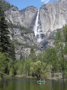 Yosemite Falls and the Merced River.
