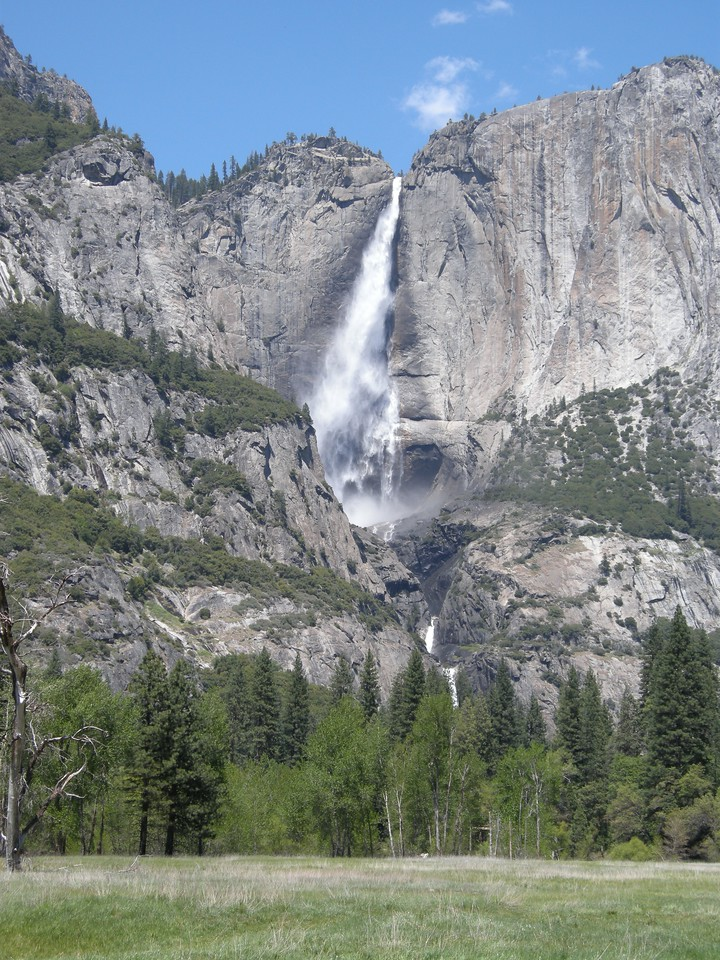 Yosemite Falls from meadows along the Merced river. Wind will blow the fall back and forth; notice the darkened rock on either side of the upper fall.