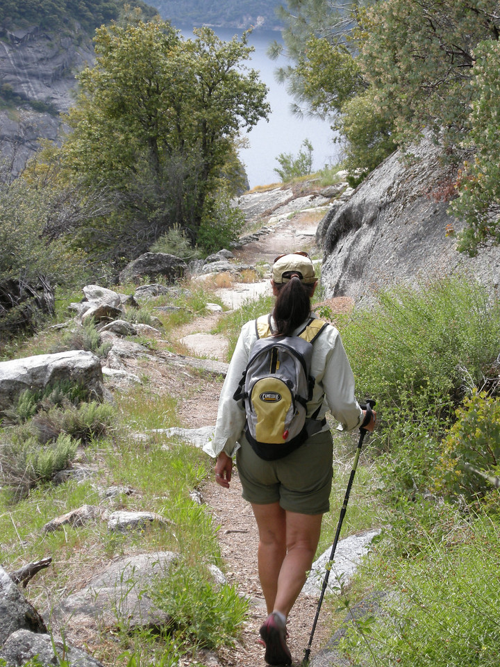 We hiked to within a mile or less of Tiltill Creek, then turned back. Hetch Hetchy Reservoir in background.
