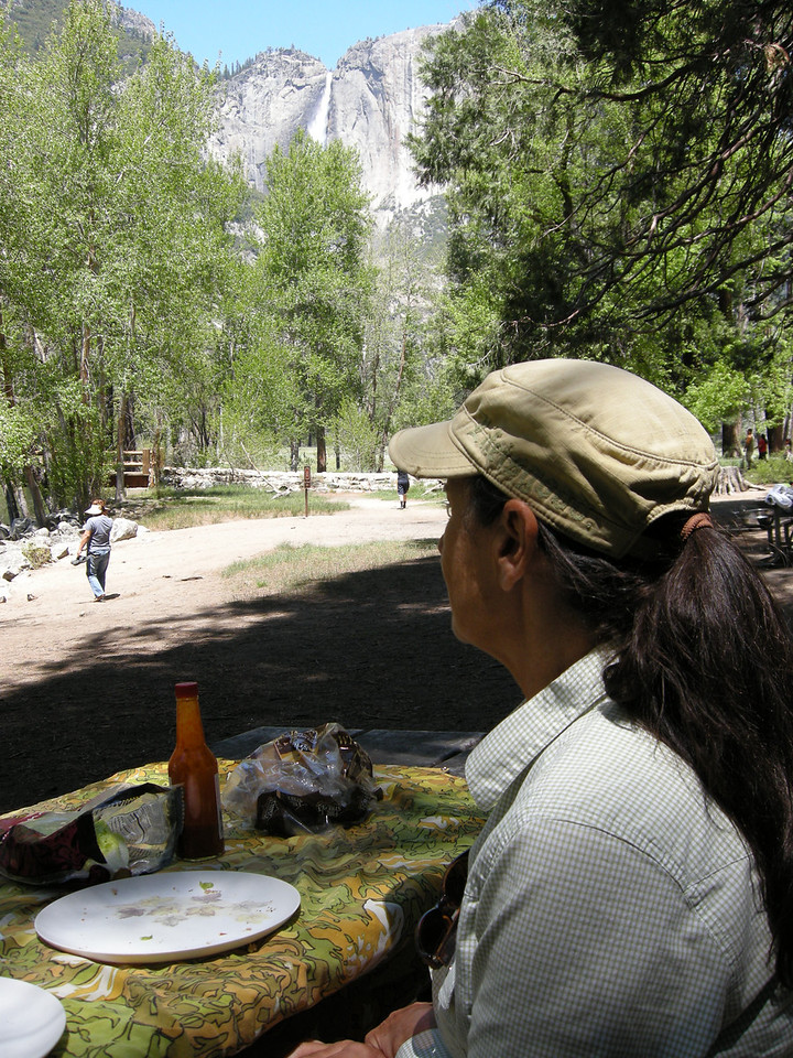 Lunch by the Merced river, with Yosemite Falls in background.