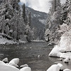 The view down the Merced River after a winter snowstorm in Yosemite National Park
