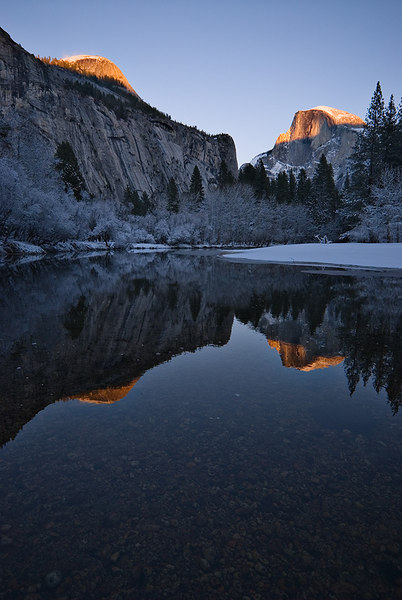 North Dome and Half Dome Reflected in the Merced River