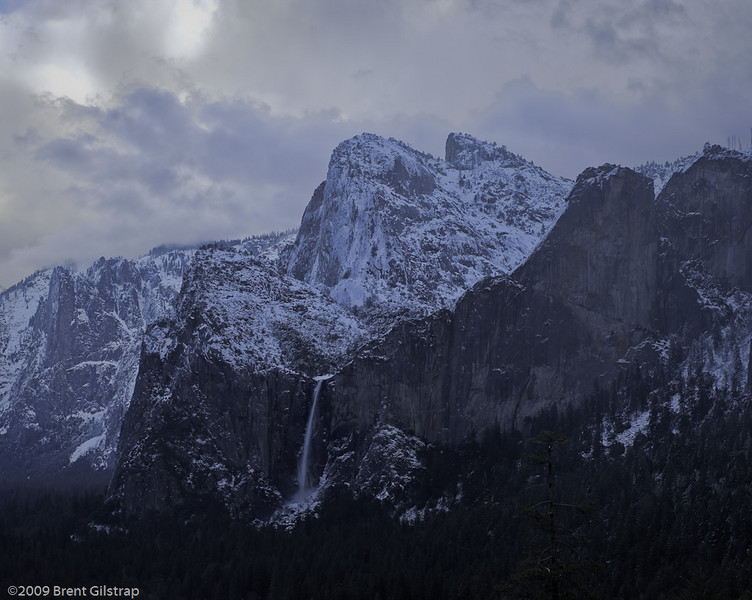 Storm over Bridalveil Falls and Cathedral Rocks<br /> <br /> Yosemite Valley<br /> 5 March 2009