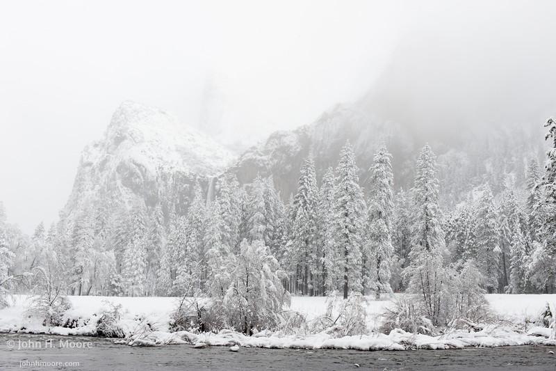 Bridalveil Falls during a snowstorm.  Yosemite National Park.