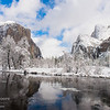 El Capitan and Bridalviel Fall after a winter storm in Yosemite Valley