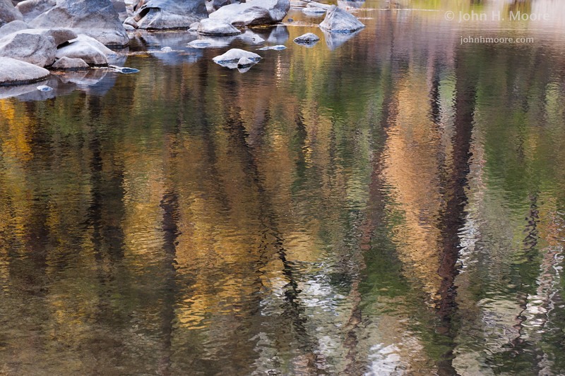 Fall reflections in the Merced River.  Yosemite National Park