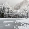 Upper Yosemite Falls in a winter snowstorm