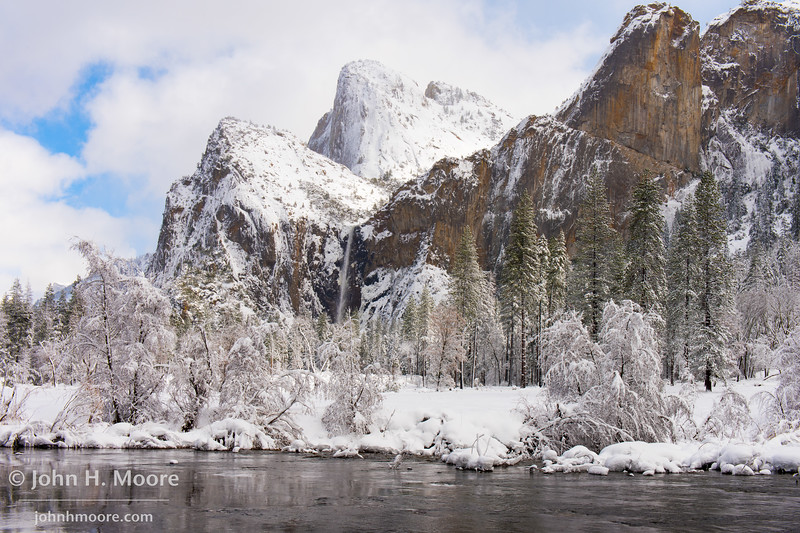 Bridalviel Fall as a winter storm clears in Yosemite Valley