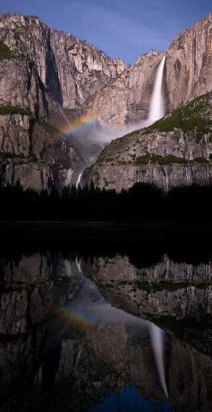 """""""Moonbow and Reflection at Yosemite Falls""""<br /> <br /> 15 May 2006"""