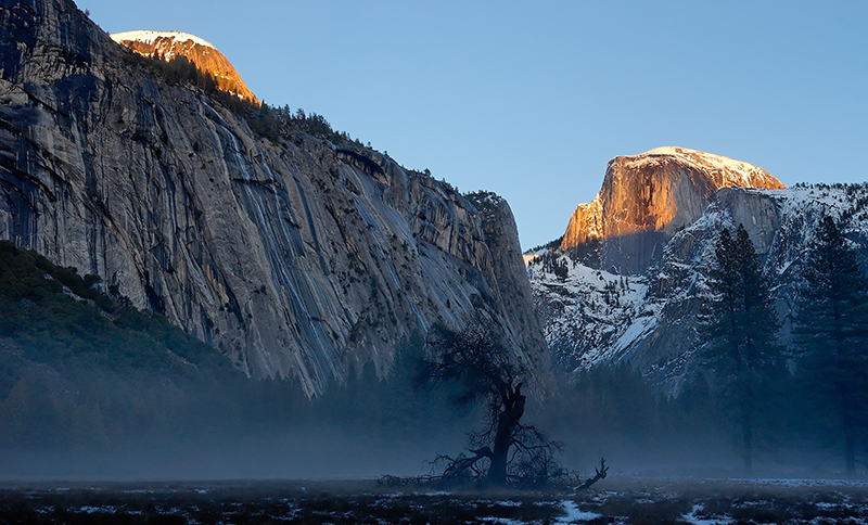 """Last Light on North Dome and Half Dome""<br /> Ahwahnee Meadow"