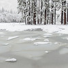 Slabs of ice in a frozen flooded section of Cook's Meadow, Yosemite National Park.