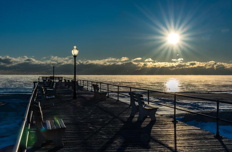 Frigid Sunrise with Sea Smoke at Ocean Grove Pier 1/7/18