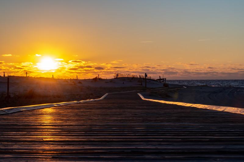 Sunrise Over Beach Walkway in Island Beach State Park 2/17/19