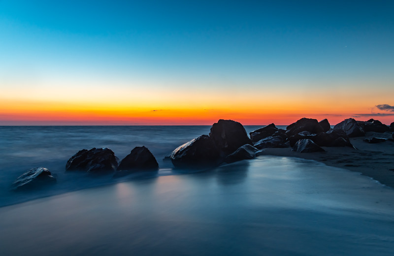 Predawn Colors Over Misty Rocks On Sandy Hook Beach 2/9/20