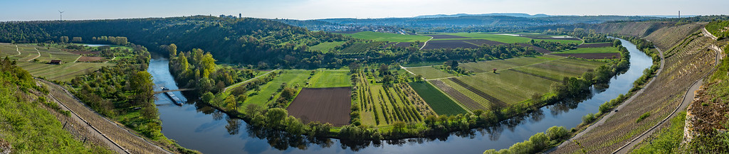 Panorama of Vineyards Along a River in Germany 4/20/17