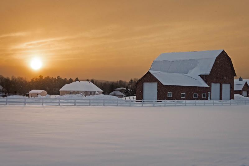 Snowy veil winter sunset