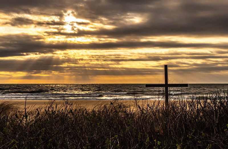 Sunrise Over Dunes & Cross On Beach, Ocean Grove 3/22/20