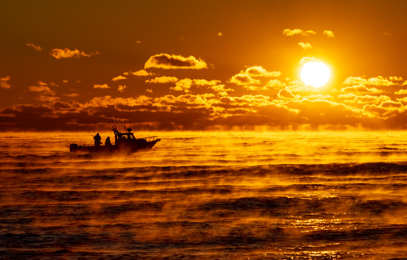Boat and Sea Smoke on Ocean at Sunrise 11/23/18