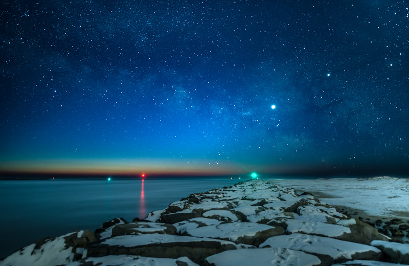 The Milky Way Fading Into Predawn Over Snow-Covered Rock Jetty at Barnegat Light 2/3/19