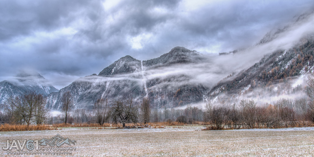 Winter landscape in the French Alps