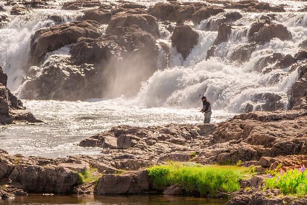 Joshua D Weiss Fine Art Photography of Fly Fishing in Hvita River near Deildartunguhver Iceland
