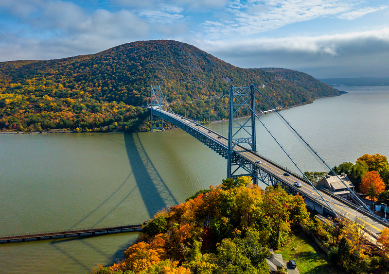 An Aerial View Of Bear Mountain Bridge Surrounded By Autumn Colors 10/22/20