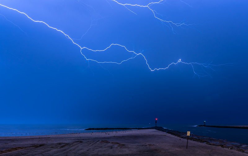 Lightning Strike Over Avon-By-The-Sea Beach and Shark River Inlet 10/3/18