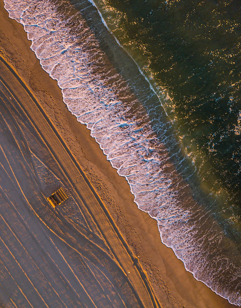 An Aerial View Of Ocean Waves Over Lifeguard Stand On Ocean Grove Beach 9/4/21